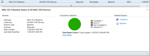 Compliance status in the Configuration Manager Console