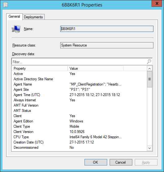 The client is reported in Configuration Manager 2012 R2
